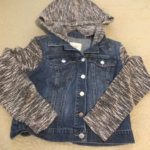 Girls jean jacket with knit by Jessica Simpson